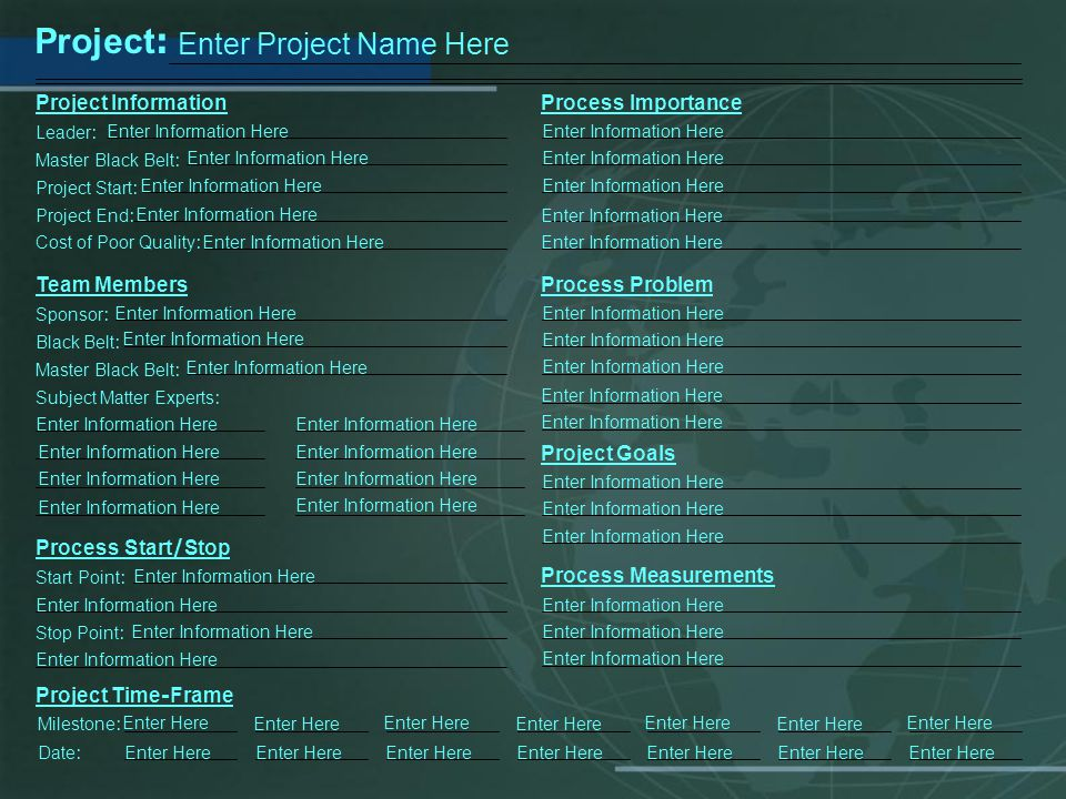 Project: Enter Project Name Here Project Information