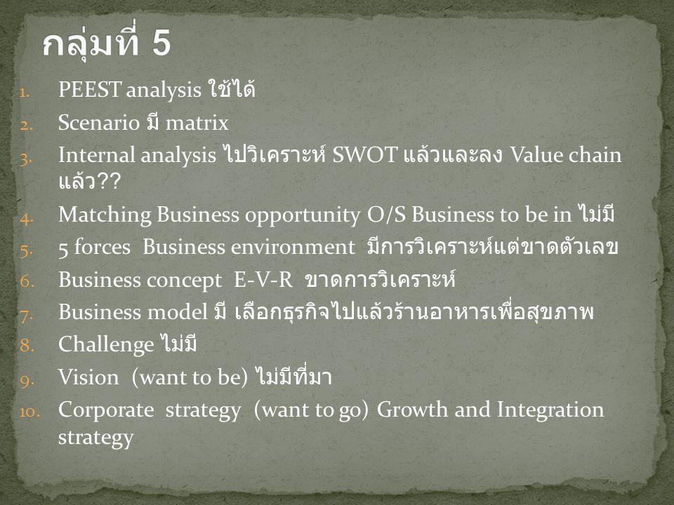 กลุ่มที่ 5 PEEST analysis ใช้ได้ Scenario มี matrix
