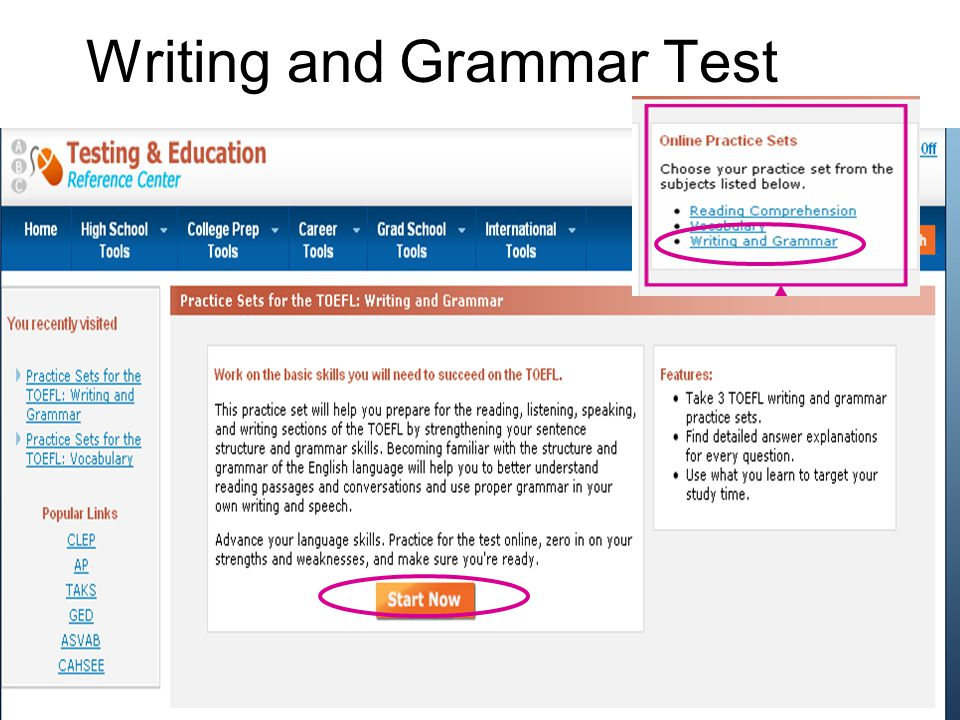 Writing and Grammar Test