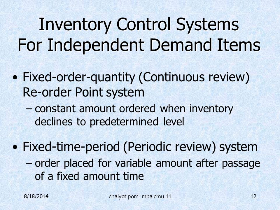 Inventory Control Systems For Independent Demand Items