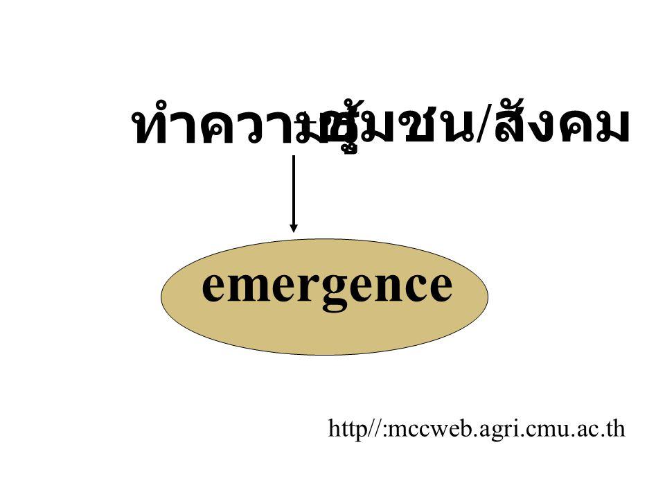 ทำความรู้ ชุมชน/สังคม emergence http//:mccweb.agri.cmu.ac.th