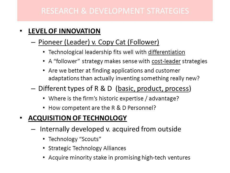 RESEARCH & DEVELOPMENT STRATEGIES