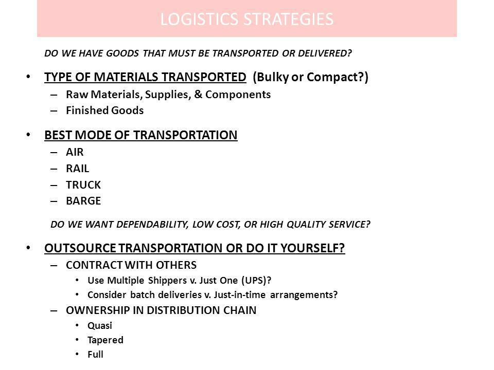 LOGISTICS STRATEGIES TYPE OF MATERIALS TRANSPORTED (Bulky or Compact )