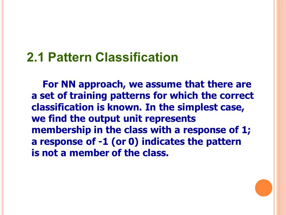 2.1 Pattern Classification