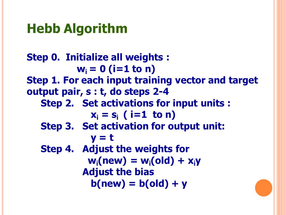 Hebb Algorithm Step 0. Initialize all weights : wi = 0 (i=1 to n)