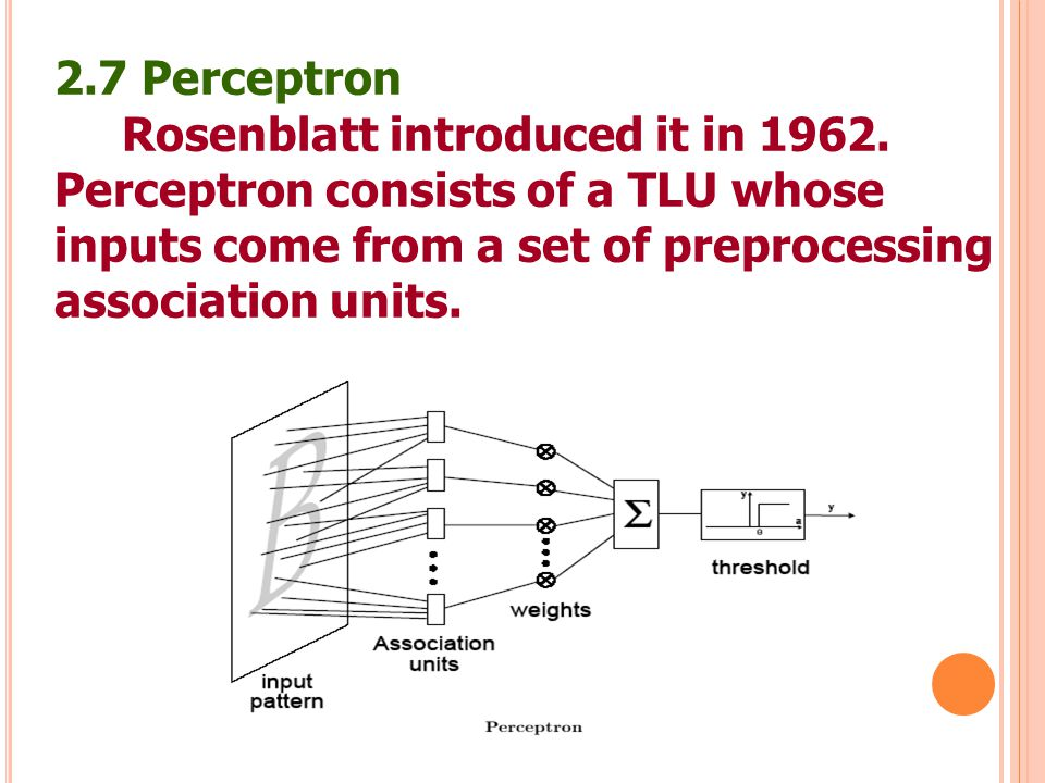 2.7 Perceptron Rosenblatt introduced it in 1962. Perceptron consists of a TLU whose. inputs come from a set of preprocessing.