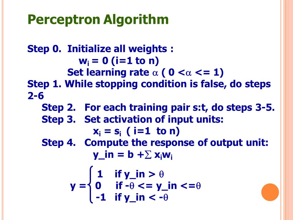 Perceptron Algorithm Step 0. Initialize all weights :