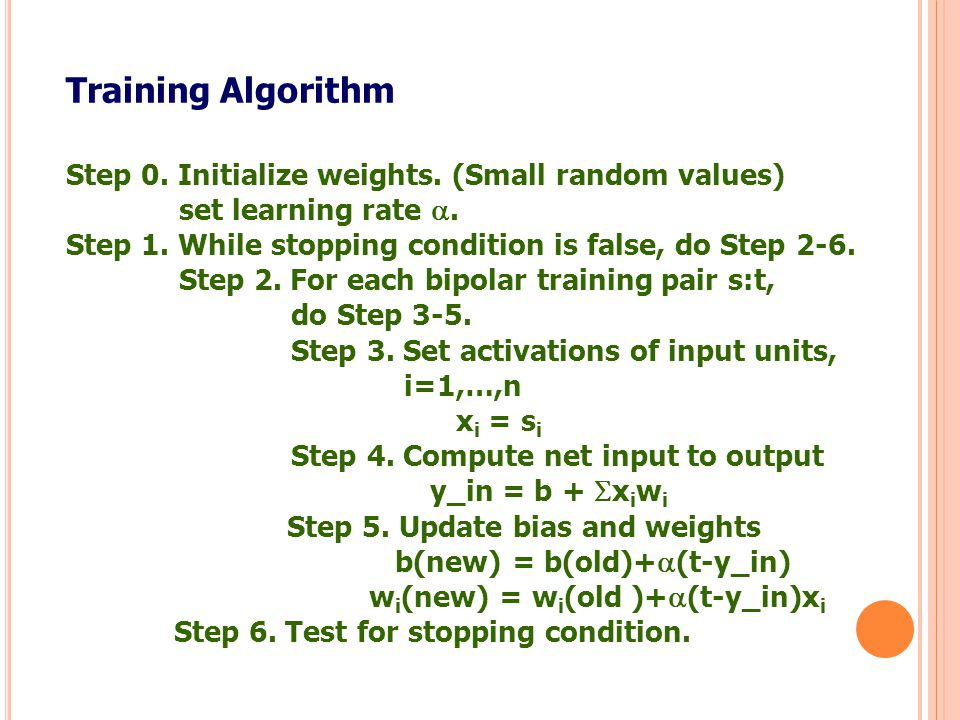 Training Algorithm Step 0. Initialize weights. (Small random values)