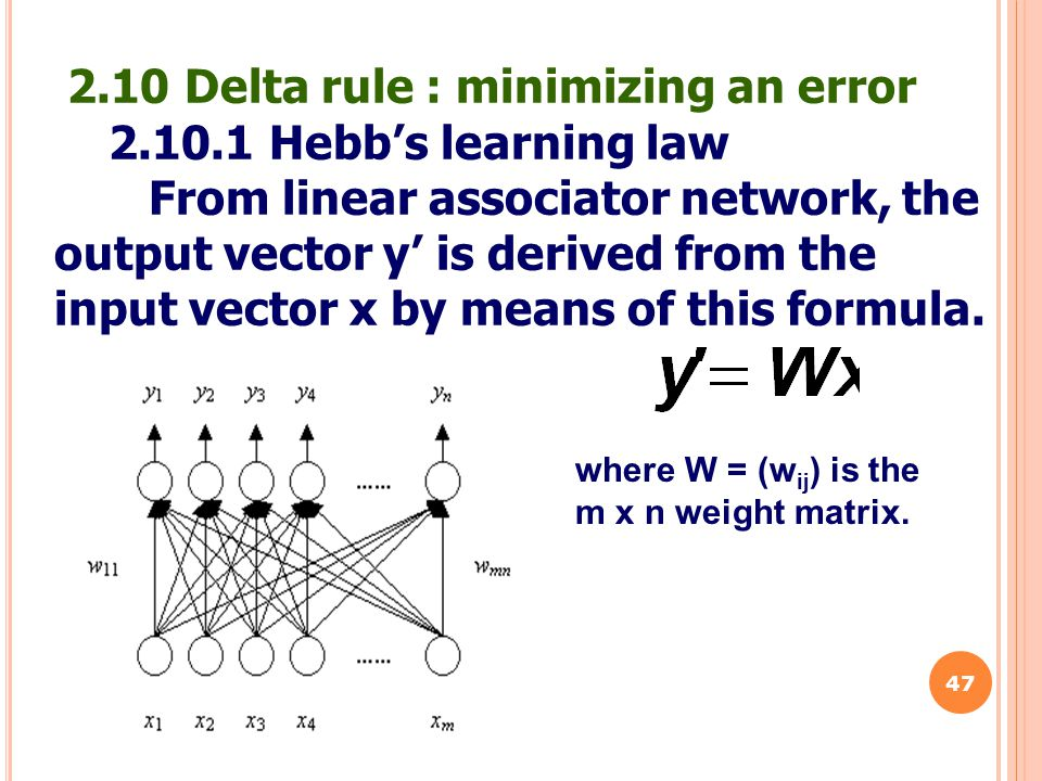 2.10 Delta rule : minimizing an error 2.10.1 Hebb's learning law