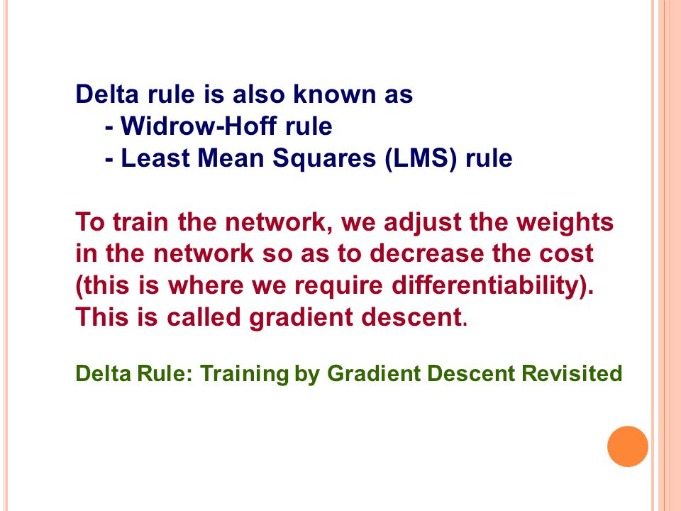 Delta rule is also known as - Widrow-Hoff rule