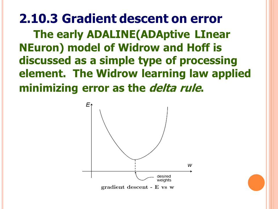 2.10.3 Gradient descent on error The early ADALINE(ADAptive LInear