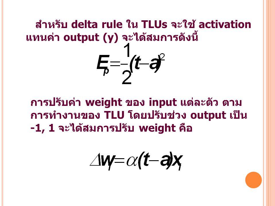 สำหรับ delta rule ใน TLUs จะใช้ activation