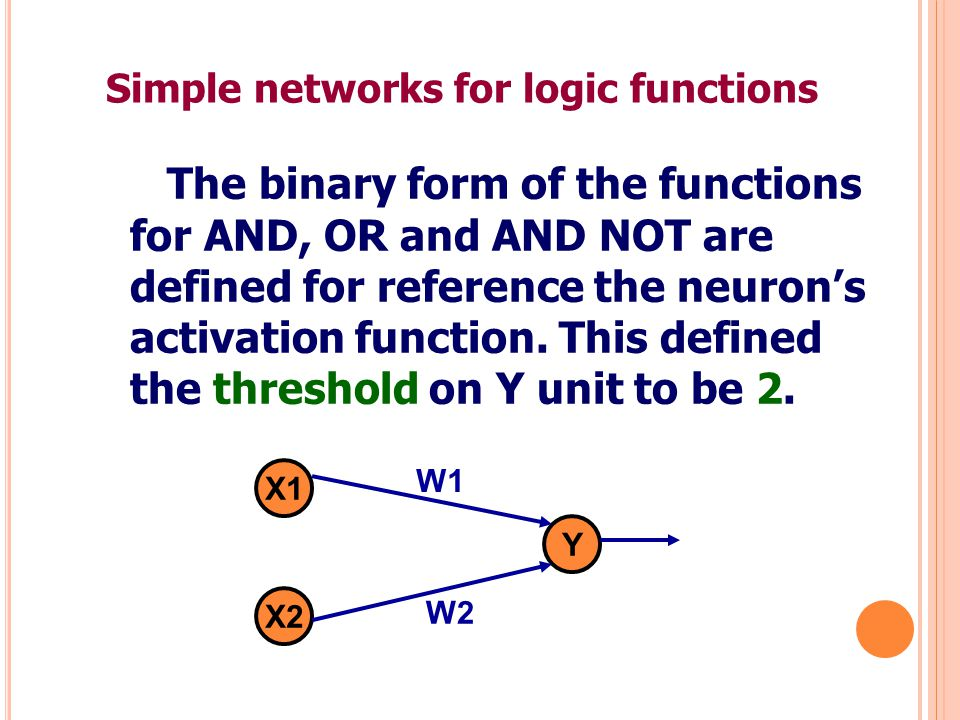 Simple networks for logic functions