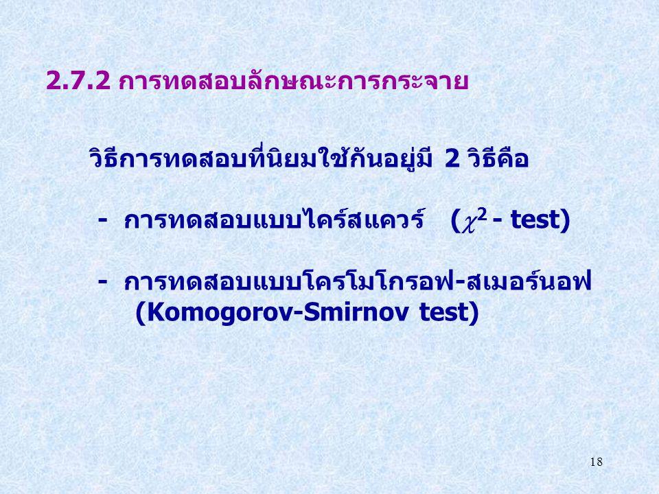 2.7.2 การทดสอบลักษณะการกระจาย