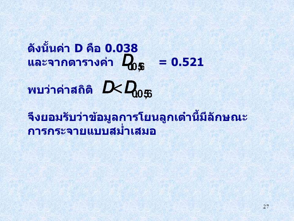 ดังนั้นค่า D คือ 0.038 และจากตารางค่า = 0.521. พบว่าค่าสถิติ จึงยอมรับว่าข้อมูลการโยนลูกเต๋านี้มีลักษณะ.