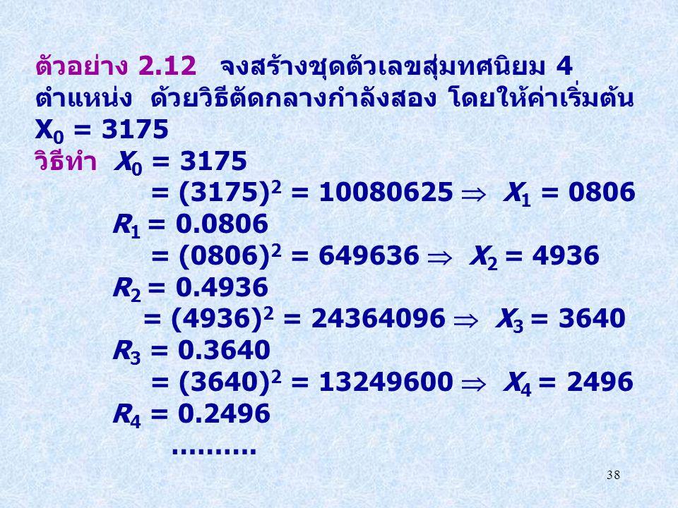 ตัวอย่าง 2.12 จงสร้างชุดตัวเลขสุ่มทศนิยม 4 ตำแหน่ง ด้วยวิธีตัดกลางกำลังสอง โดยให้ค่าเริ่มต้น X0 = 3175