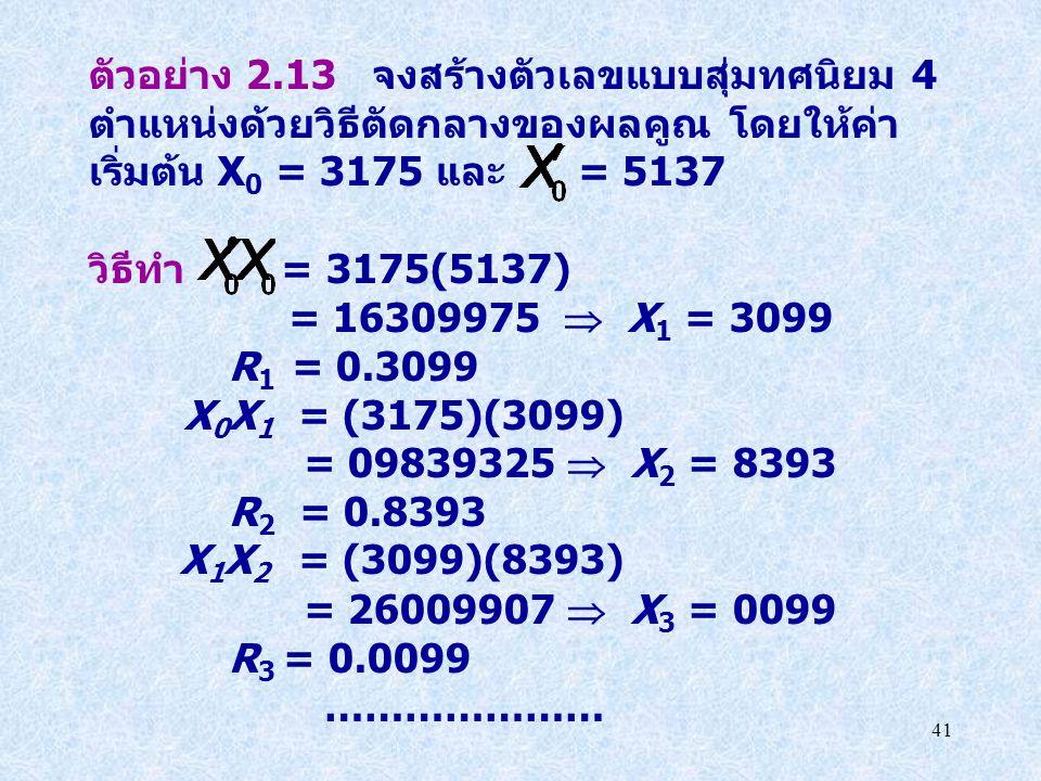 ตัวอย่าง 2.13 จงสร้างตัวเลขแบบสุ่มทศนิยม 4 ตำแหน่งด้วยวิธีตัดกลางของผลคูณ โดยให้ค่าเริ่มต้น X0 = 3175 และ = 5137