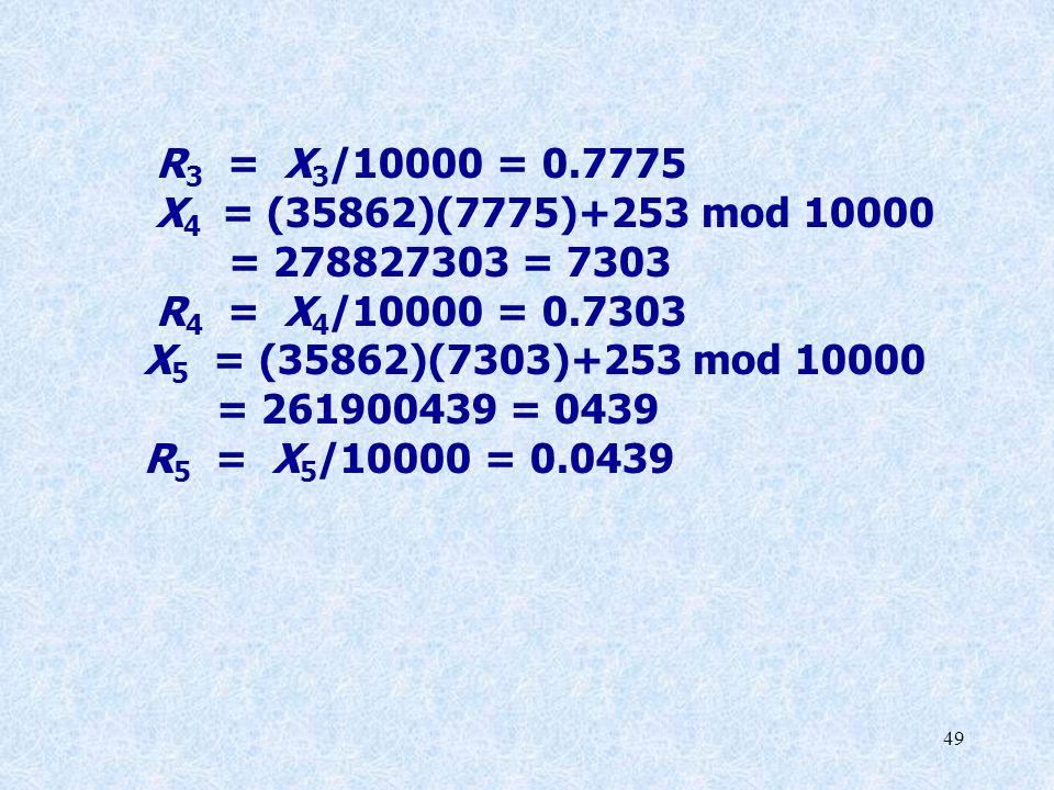 R3 = X3/10000 = 0.7775 X4 = (35862)(7775)+253 mod 10000. = 278827303 = 7303. R4 = X4/10000 = 0.7303.