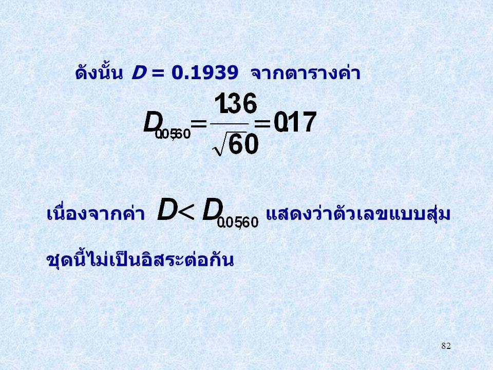 ดังนั้น D = 0.1939 จากตารางค่า