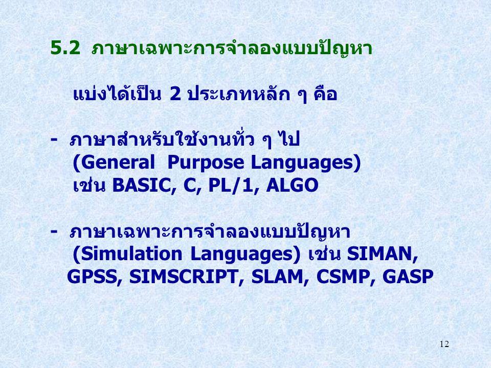 5.2 ภาษาเฉพาะการจำลองแบบปัญหา