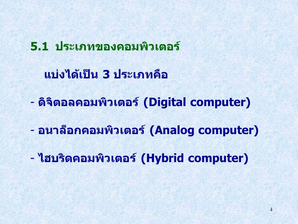5.1 ประเภทของคอมพิวเตอร์