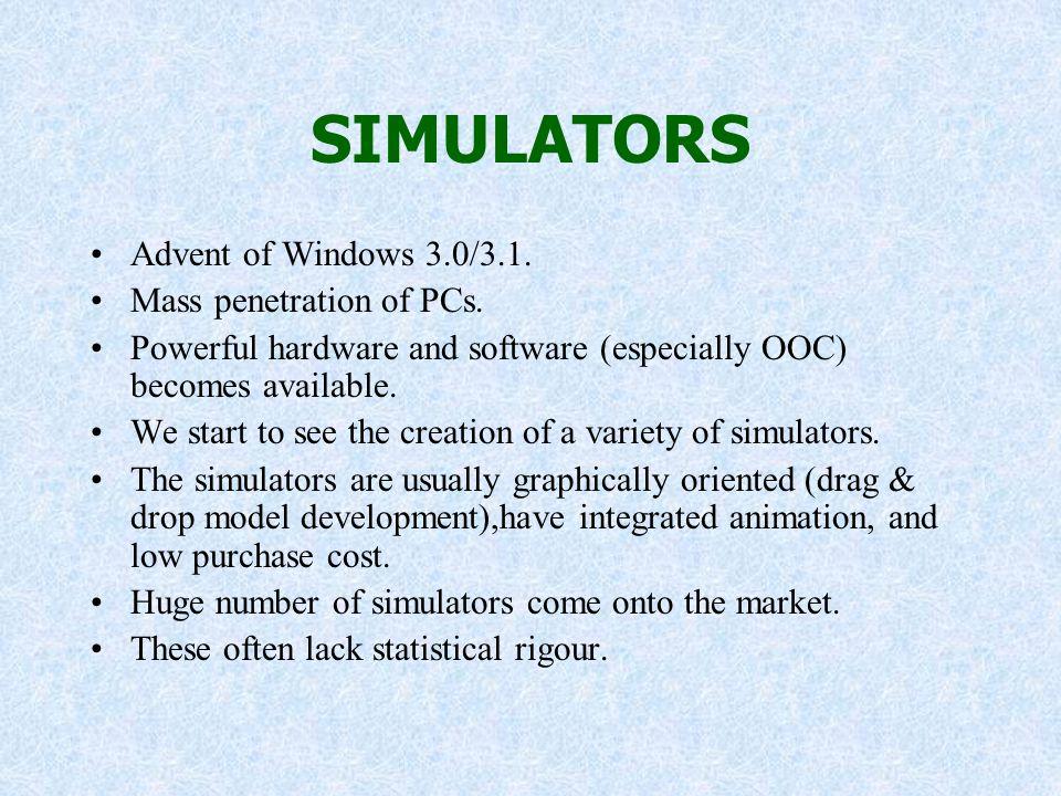 SIMULATORS Advent of Windows 3.0/3.1. Mass penetration of PCs.