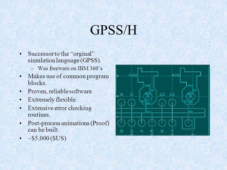 GPSS/H Successor to the orginal simulation language (GPSS).
