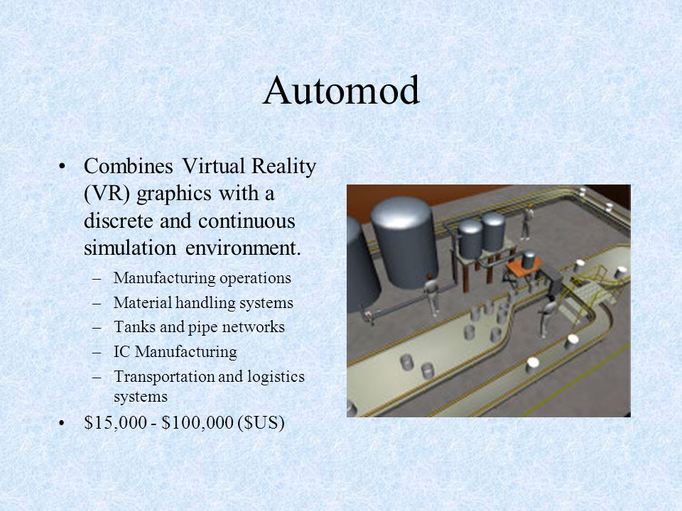 Automod Combines Virtual Reality (VR) graphics with a discrete and continuous simulation environment.