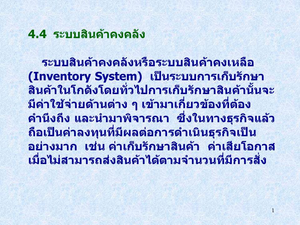 4.4 ระบบสินค้าคงคลัง