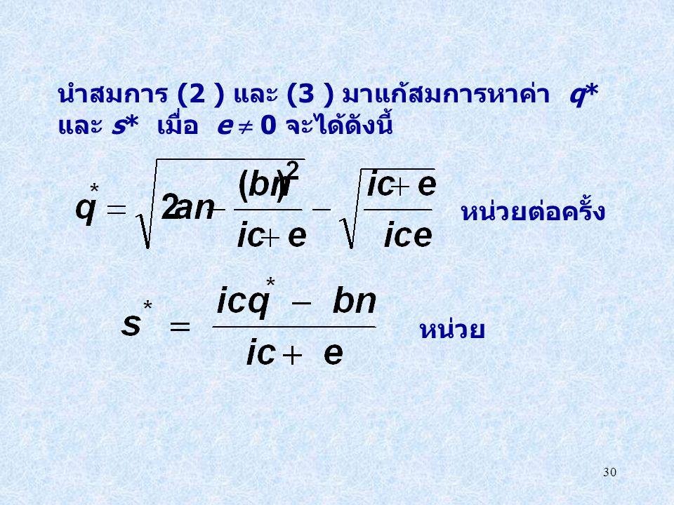นำสมการ (2 ) และ (3 ) มาแก้สมการหาค่า q*