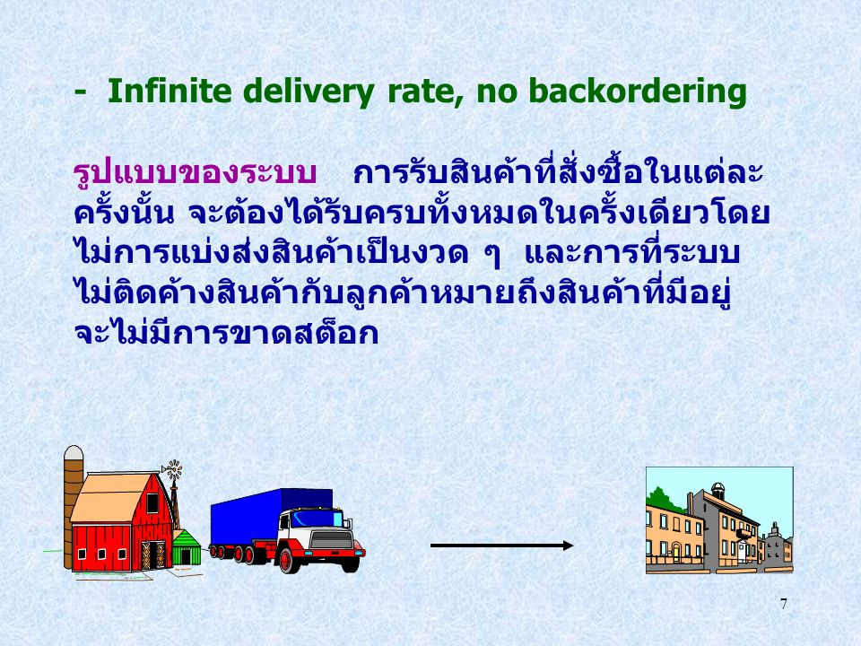 - Infinite delivery rate, no backordering