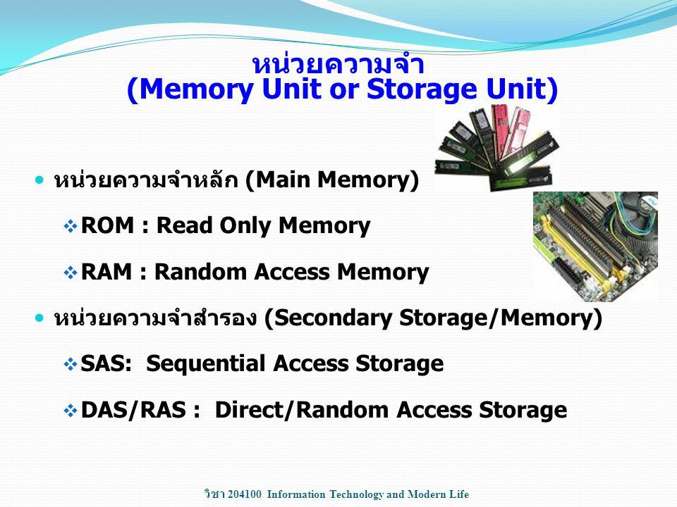 หน่วยความจำ (Memory Unit or Storage Unit)