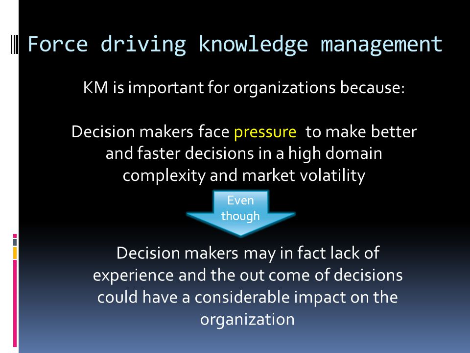 Force driving knowledge management