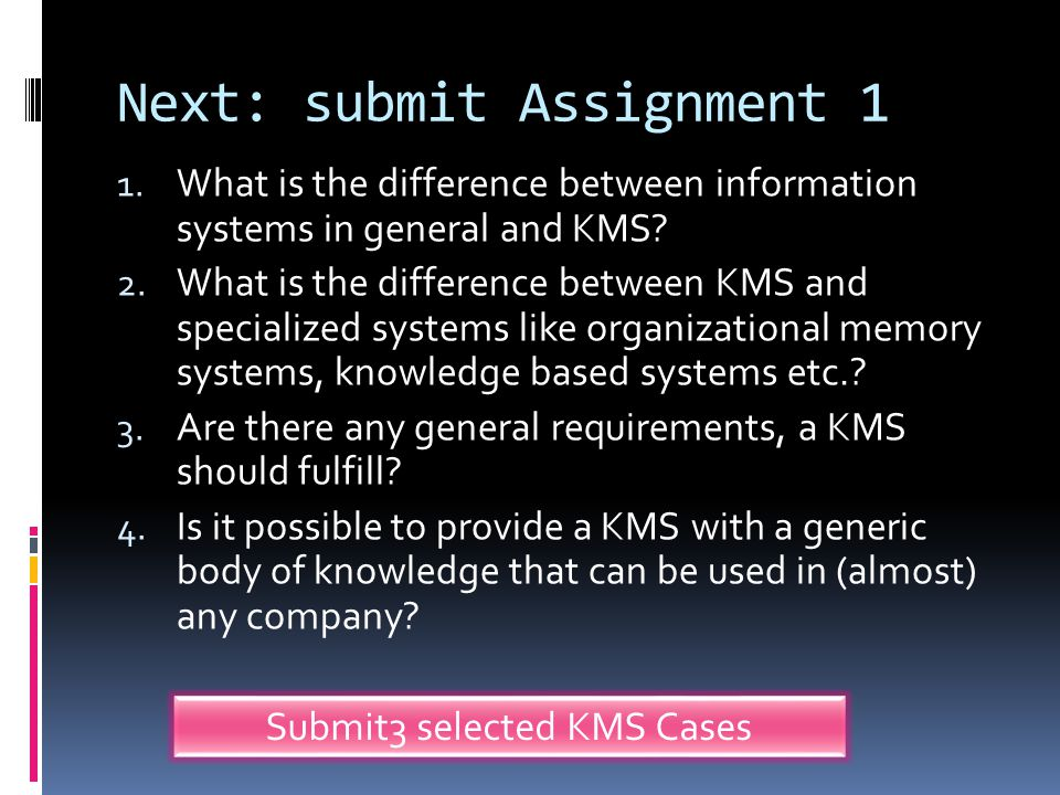 Next: submit Assignment 1