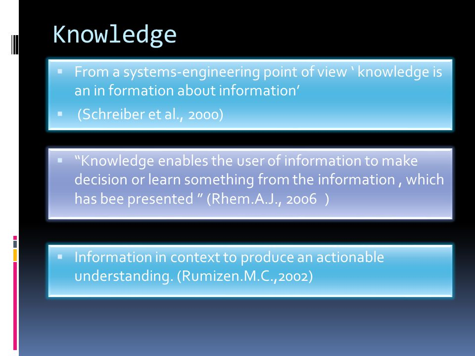 Knowledge From a systems-engineering point of view ' knowledge is an in formation about information'