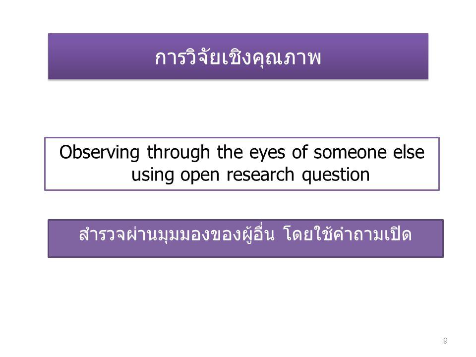 สำรวจผ่านมุมมองของผู้อื่น โดยใช้คำถามเปิด