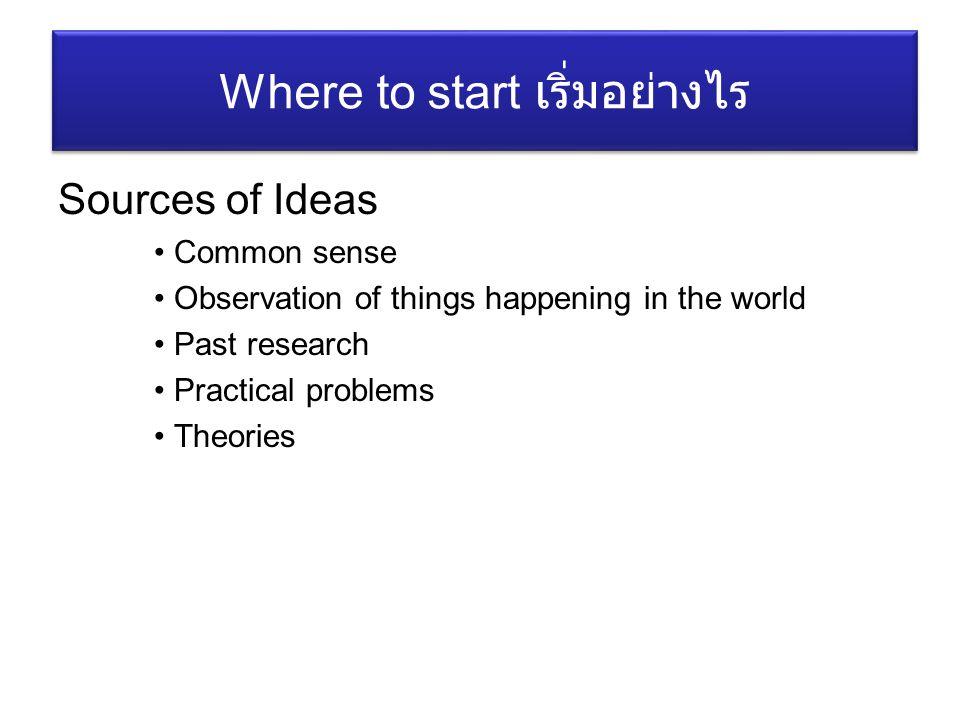 Where to start เริ่มอย่างไร