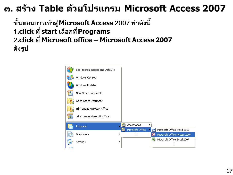 ๓. สร้าง Table ด้วยโปรแกรม Microsoft Access 2007