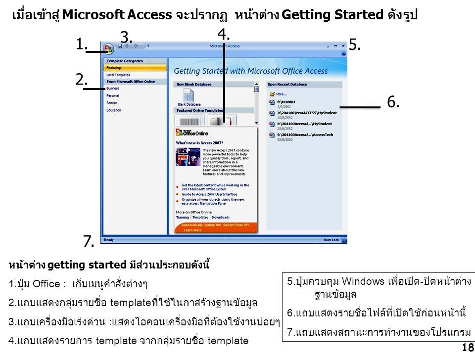 เมื่อเข้าสู่ Microsoft Access จะปรากฏ หน้าต่าง Getting Started ดังรูป