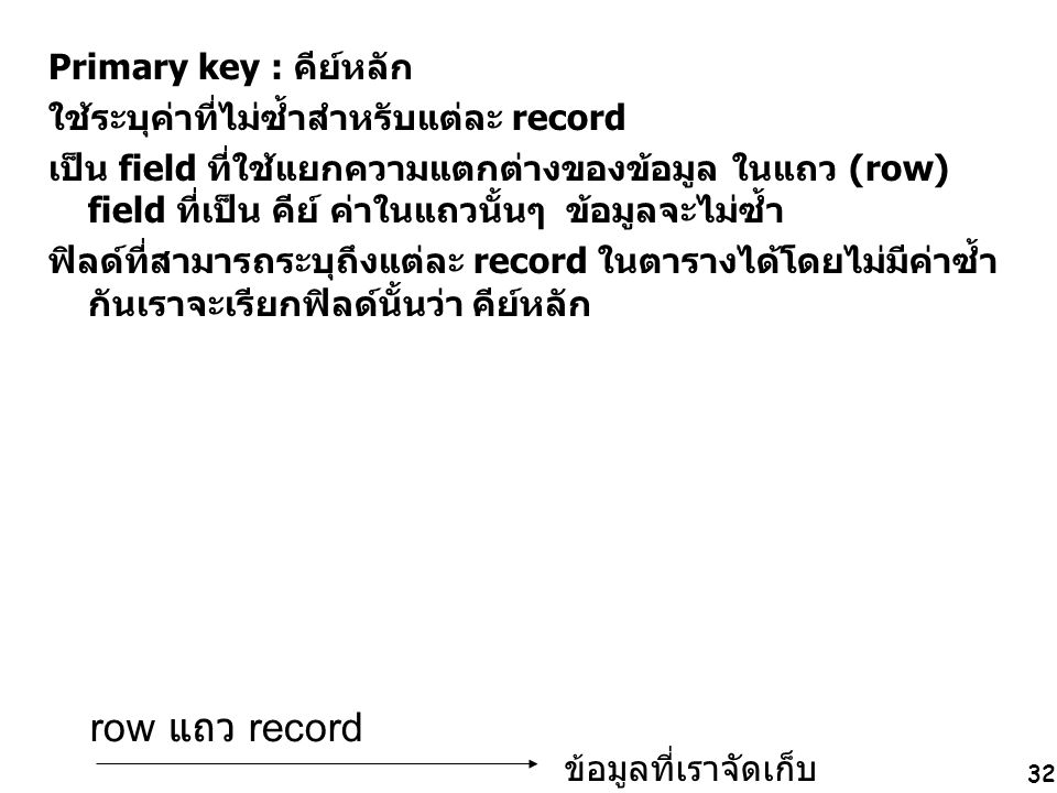 row แถว record Primary key : คีย์หลัก