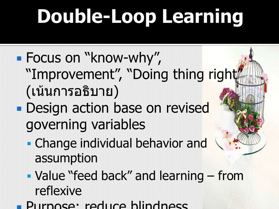 Double-Loop Learning Focus on know-why , Improvement , Doing thing right (เน้นการอธิบาย) Design action base on revised governing variables.