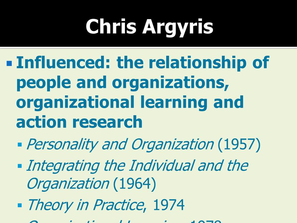 Chris Argyris Influenced: the relationship of people and organizations, organizational learning and action research.