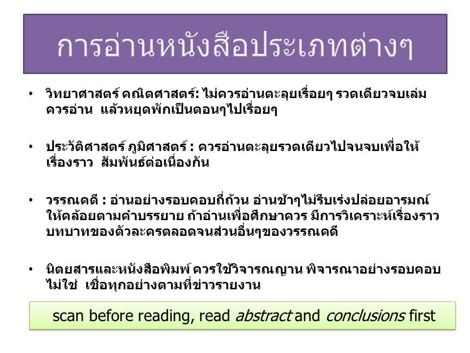 การอ่านหนังสือประเภทต่างๆ
