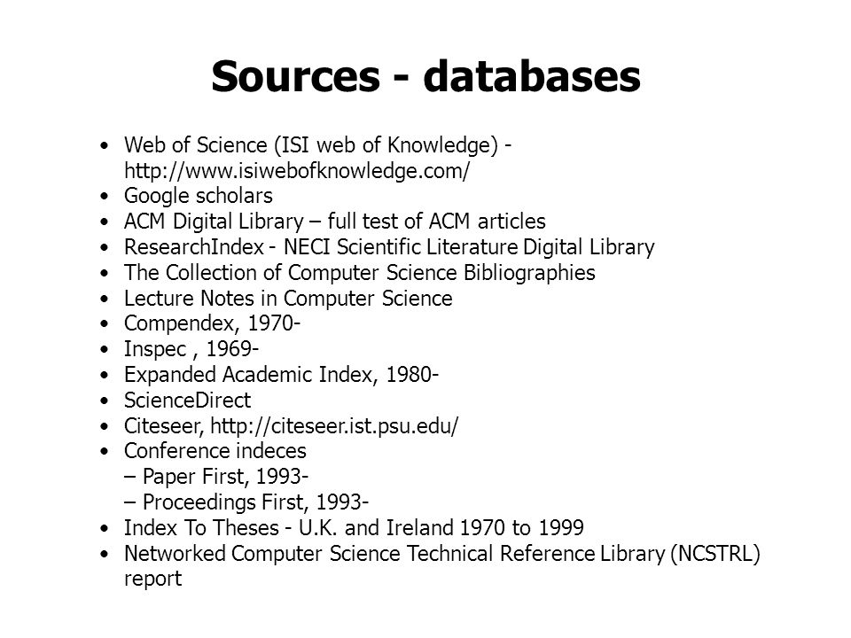 Sources - databases Web of Science (ISI web of Knowledge) -