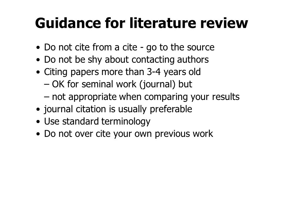 Guidance for literature review