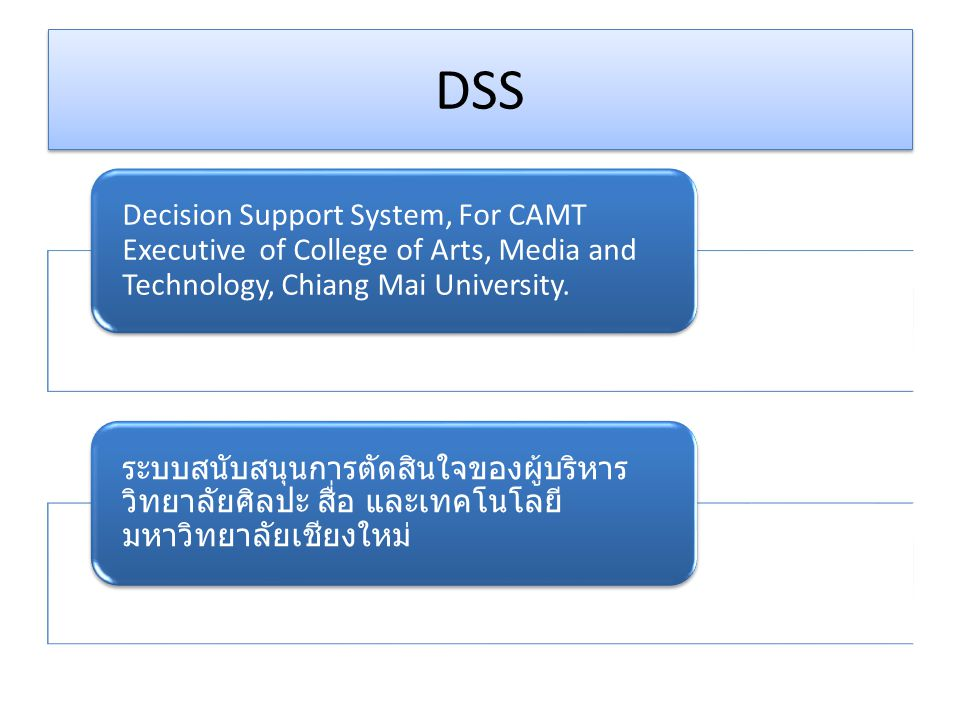 DSS Decision Support System, For CAMT Executive of College of Arts, Media and Technology, Chiang Mai University.