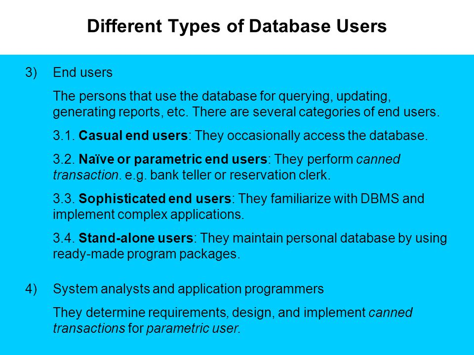 Different Types of Database Users