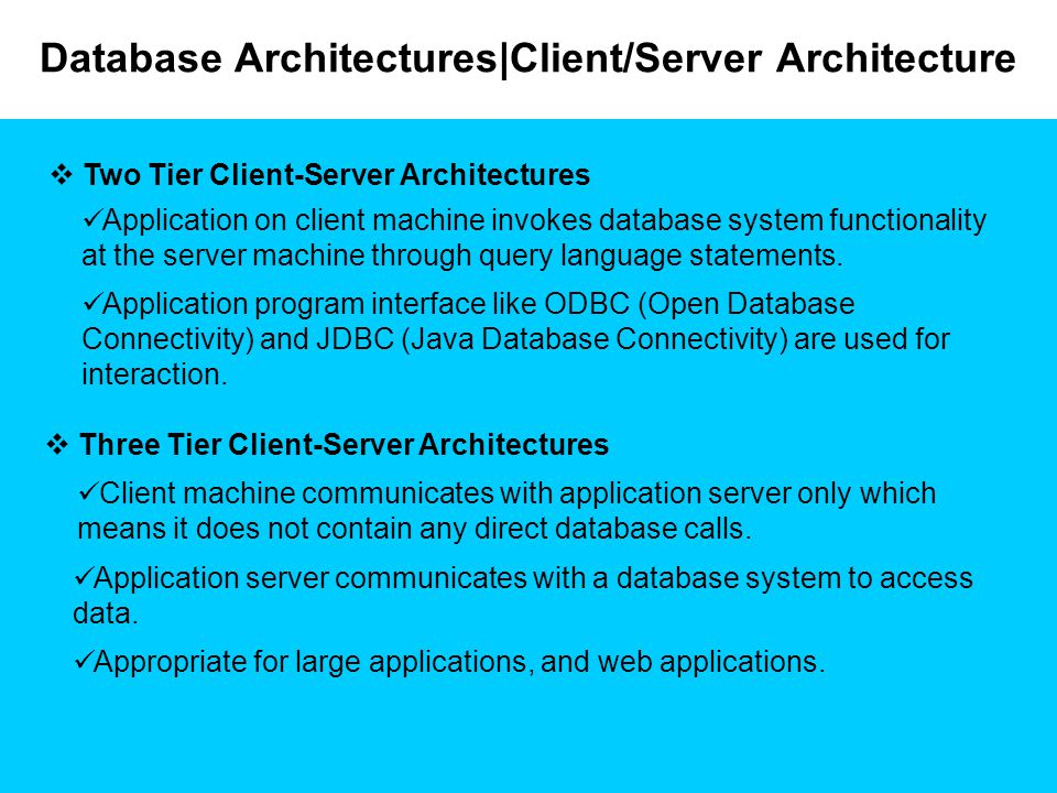 Database Architectures|Client/Server Architecture