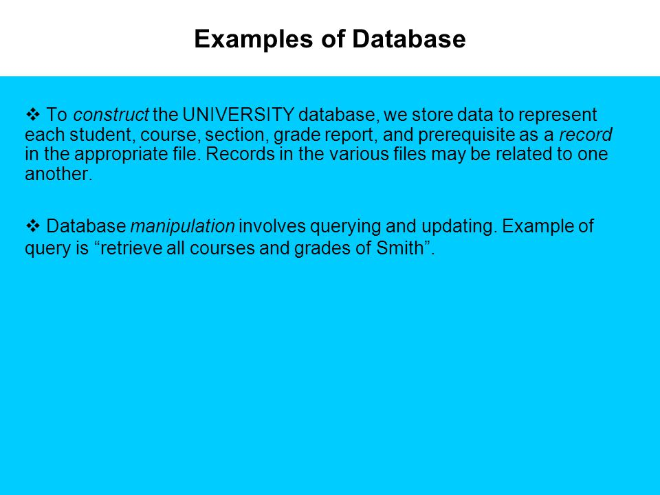 Examples of Database