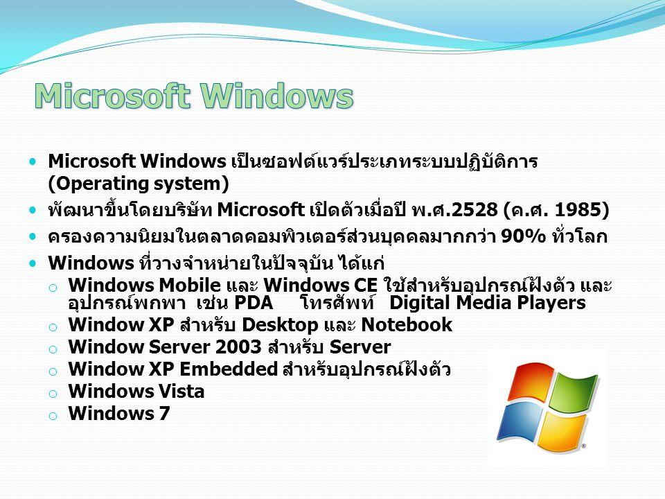 Microsoft Windows Microsoft Windows เป็นซอฟต์แวร์ประเภทระบบปฏิบัติการ (Operating system)
